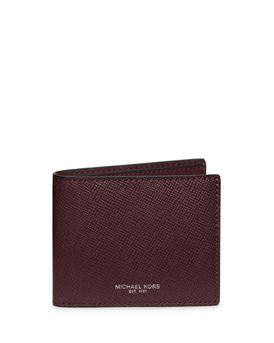Harrison Cross-Grain Leather Wallet, Oxblood