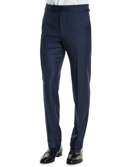 TOM FORD O'Connor Base Classic Sharkskin Trousers, Navy