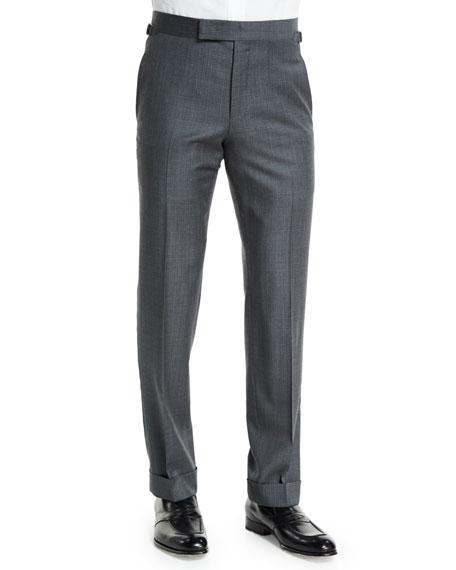 O'Connor Base Mixed Sharkskin Trousers, Light Gray
