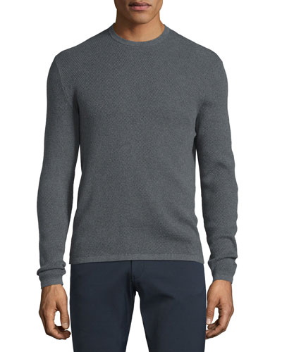 Savaro Textured Knit Crewneck Sweater, Gray Heather