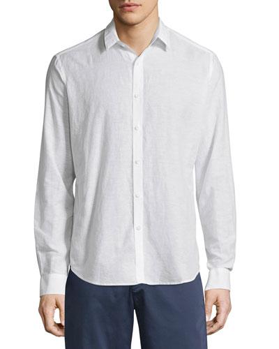 Zack Linen-Blend Long-Sleeve Shirt, White