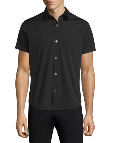 Rammis Short-Sleeve Woven Shirt, Black