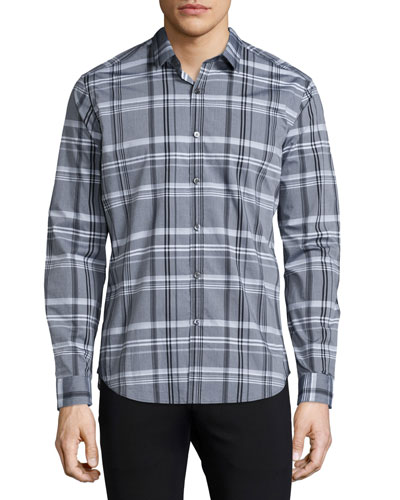 Zack Plaid Long-Sleeve Sport Shirt, Black Multi