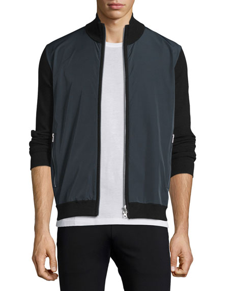 Theory Lievin Colorblock Zip-Up Sweater Jacket, Black