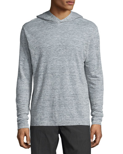 Colton Long-Sleeve Hooded Linen T-Shirt, Light Heather