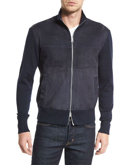 TOM FORD Suede-Front Zip-Up Wool Jacket, Navy