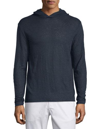 Colton Hooded Long-Sleeve Linen T-Shirt, Eclipse