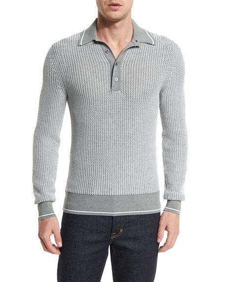 TOM FORD Textured Long-Sleeve Polo Shirt, Gray