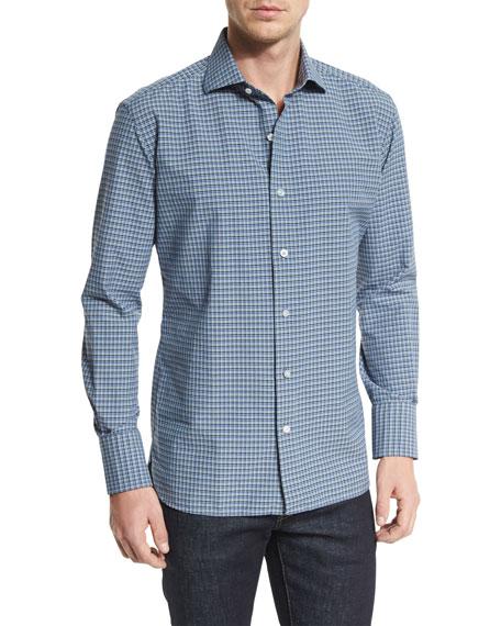 TOM FORD Mini-Check Poplin Sport Shirt, Blue/White