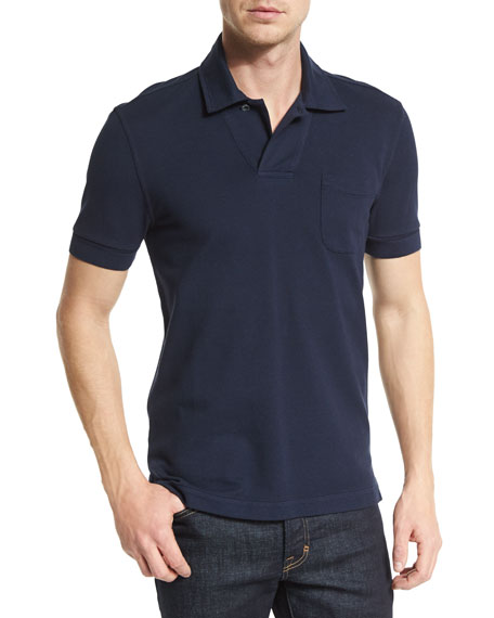 TOM FORD Short-Sleeve Polo Shirt, Navy