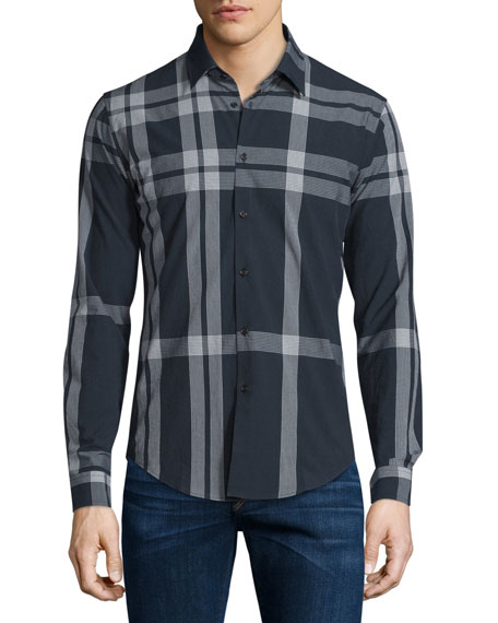 Burberry London Slim-Fit Check Sport Shirt, Navy