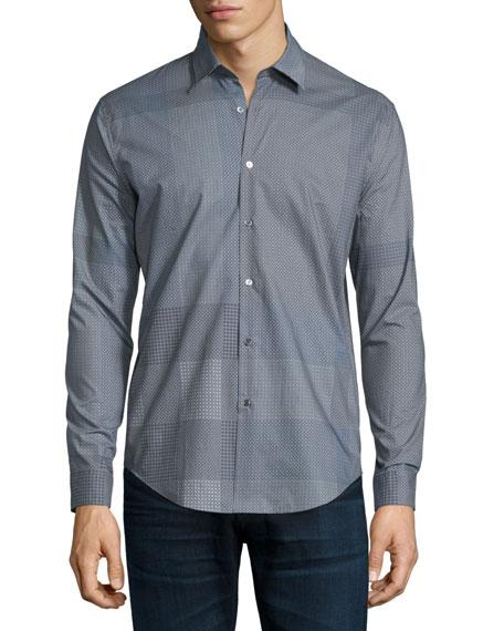 Burberry London Modern-Fit Patchwork-Print Long-Sleeve Shirt,