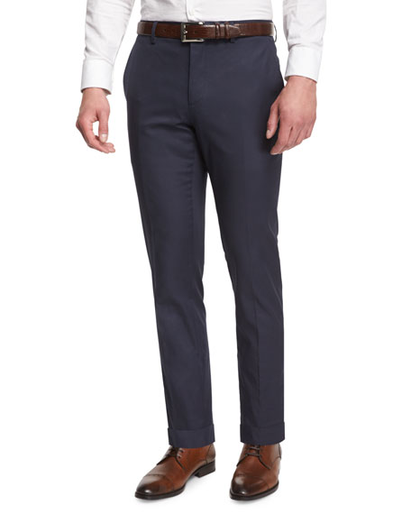 Burberry London Modern-Fit Flat-Front Trousers, Bright Steel Blue