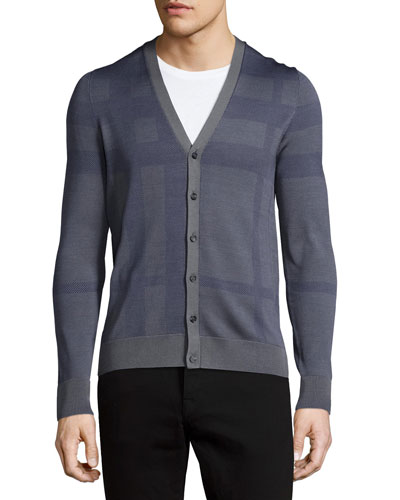 Check Button-Down Silk Cardigan, Pewter Blue