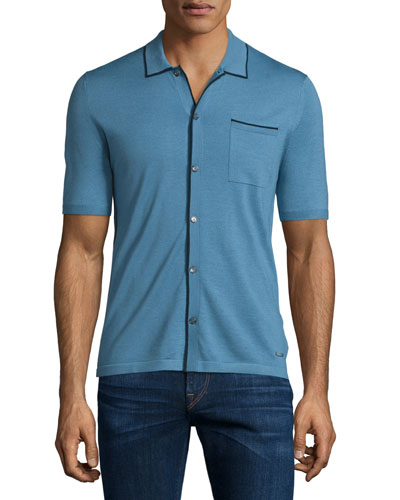 Binding Story Contrast-Trim Short-Sleeve Shirt, Cornflower Blue