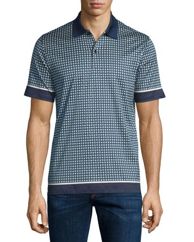 Printed Short-Sleeve Polo Shirt, Navy