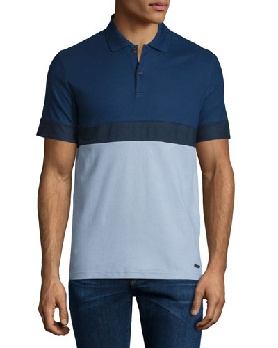 Modern-Fit Colorblock Short-Sleeve Polo Shirt, Pale Sky Blue/Navy
