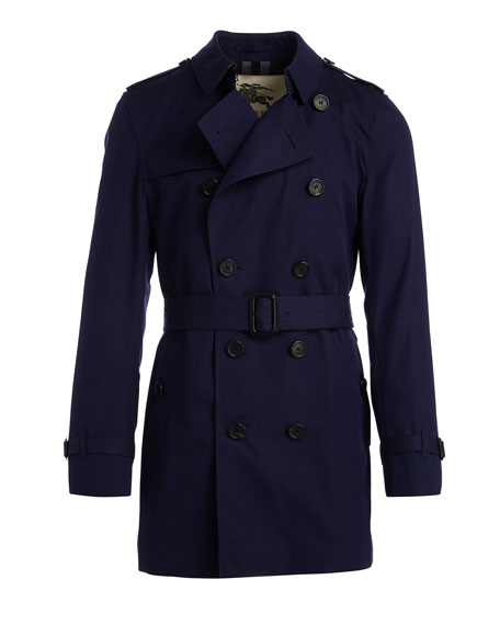 Slim-Fit Double-Breasted Trench Coat, Blueberry