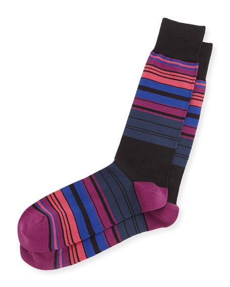 Paul Smith Tri-Line Striped Socks, Black