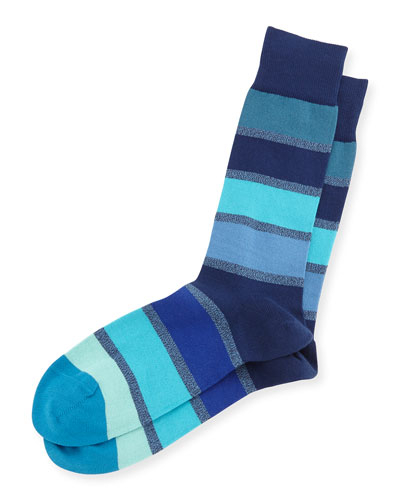 Twist Block Striped Socks, Navy