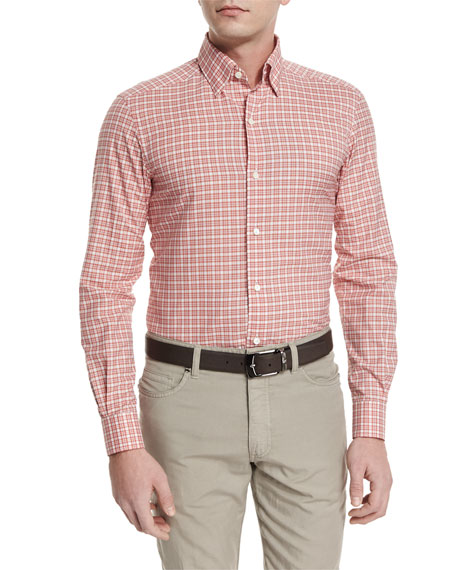 Ermenegildo Zegna Check Long-Sleeve Sport Shirt, Red
