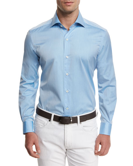 Ermenegildo Zegna Summer Chambray Long-Sleeve Sport Shirt, Light Blue