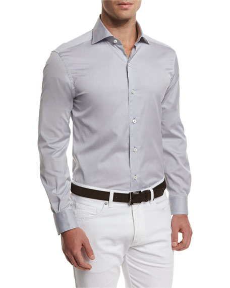 Ermenegildo Zegna Summer Chambray Long-Sleeve Sport Shirt, Gray