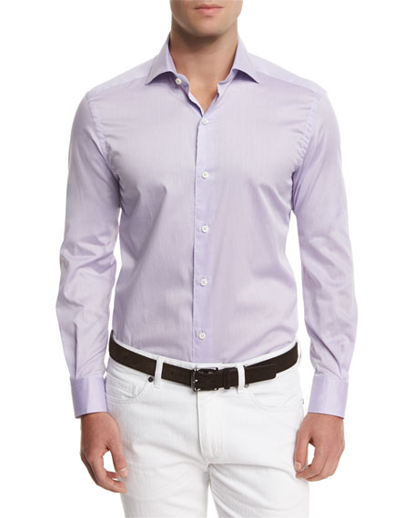Ermenegildo Zegna Summer Chambray Long-Sleeve Sport Shirt, Purple