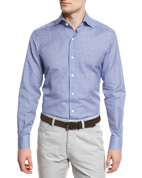Ermenegildo Zegna Check Long-Sleeve Sport Shirt, Blue