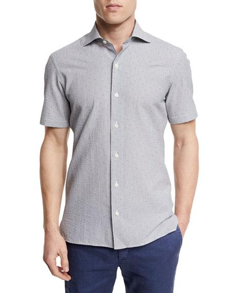Ermenegildo Zegna Seersucker Short-Sleeve Shirt, Medium Gray