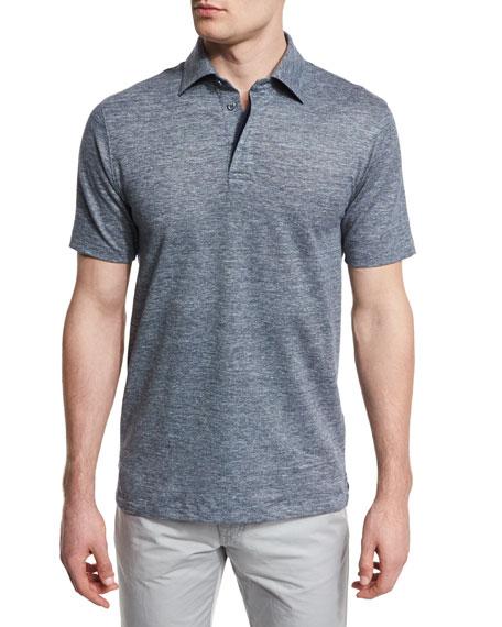 Ermenegildo Zegna Melange Striped Short-Sleeve Polo Shirt, Navy