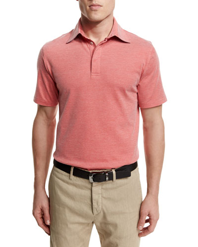 Stretch-Knit Short-Sleeve Polo Shirt, Red