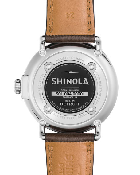 47mm Runwell Leather Watch, Deep Brown