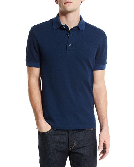 TOM FORD Short-Sleeve Pique Oxford Polo Shirt, Blue
