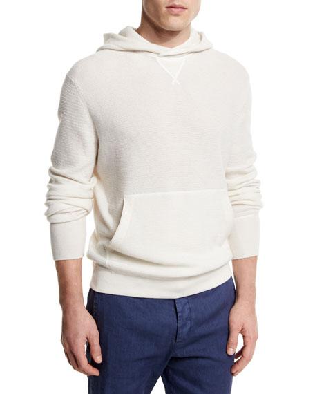 Ermenegildo Zegna Cashmere Hooded Pullover Sweater, White