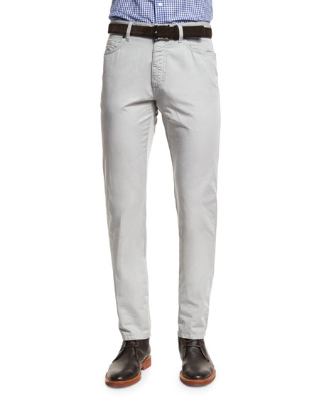 Ermenegildo Zegna Five-Pocket Cotton-Linen Pants, Stone