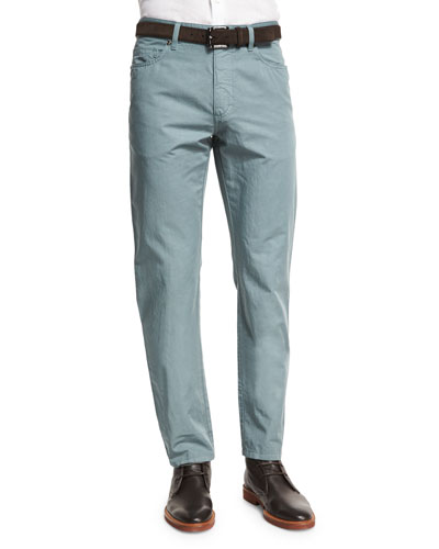 ERMENEGILDO ZEGNA Five-Pocket Cotton-Linen Pants, Teal