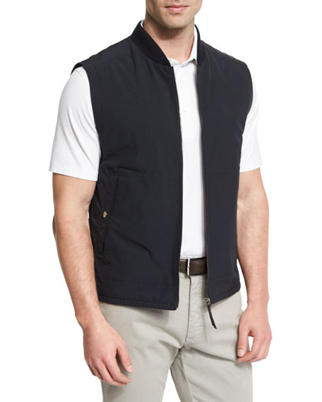 Ermenegildo Zegna Knit-Trim Vest w/ Leather Details, Navy