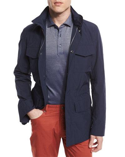 Nylon-Blend Safari Jacket, Blue