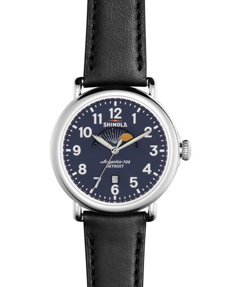 Shinola 41mm Runwell Moon Phase Watch, Black