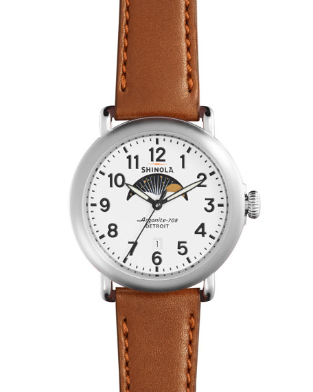 Shinola 41mm Runwell Moon Phase Watch, Dark Cognac