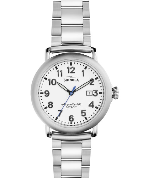 Shinola 41mm Runwell Bracelet Watch, Stainless Steel
