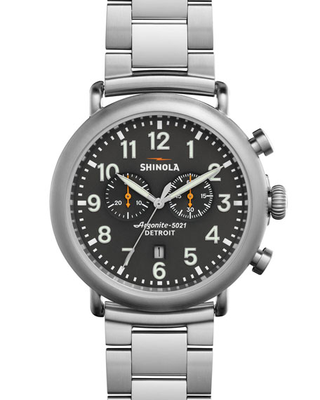 Shinola 47mm Runwell Chronograph Watch, Steel/Gray