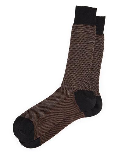 Lombard Birdseye Dress Socks, Black