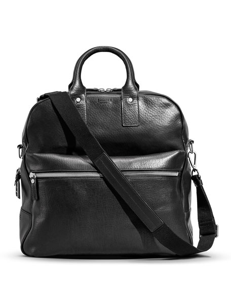 Shinola Flight Zip Leather Tote Bag, Black