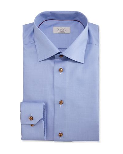 Contemporary-Fit Textured Dress Shirt, Light Blue