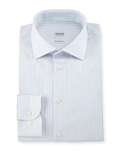 Modern-Fit Double-Stripe Dress Shirt, Light Blue