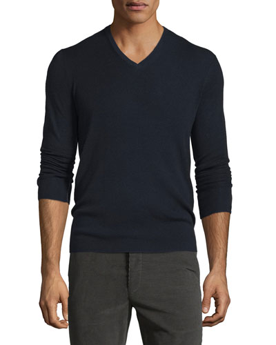 Long-Sleeve V-Neck Wool Sweater, Navy