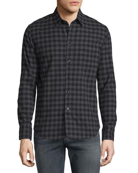 Rag & Bone Check Long-Sleeve Sport Shirt, Dark Gray