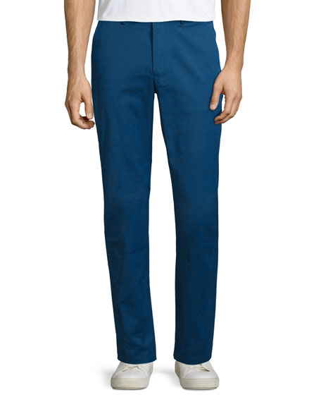Michael Kors Tailored-Fit Flat-Front Chino Trousers, Royal